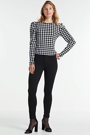 high waist slim fit broek Shape up zwart
