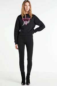 GUESS sweater Icon met printopdruk en strass steentjes zwart, Zwart