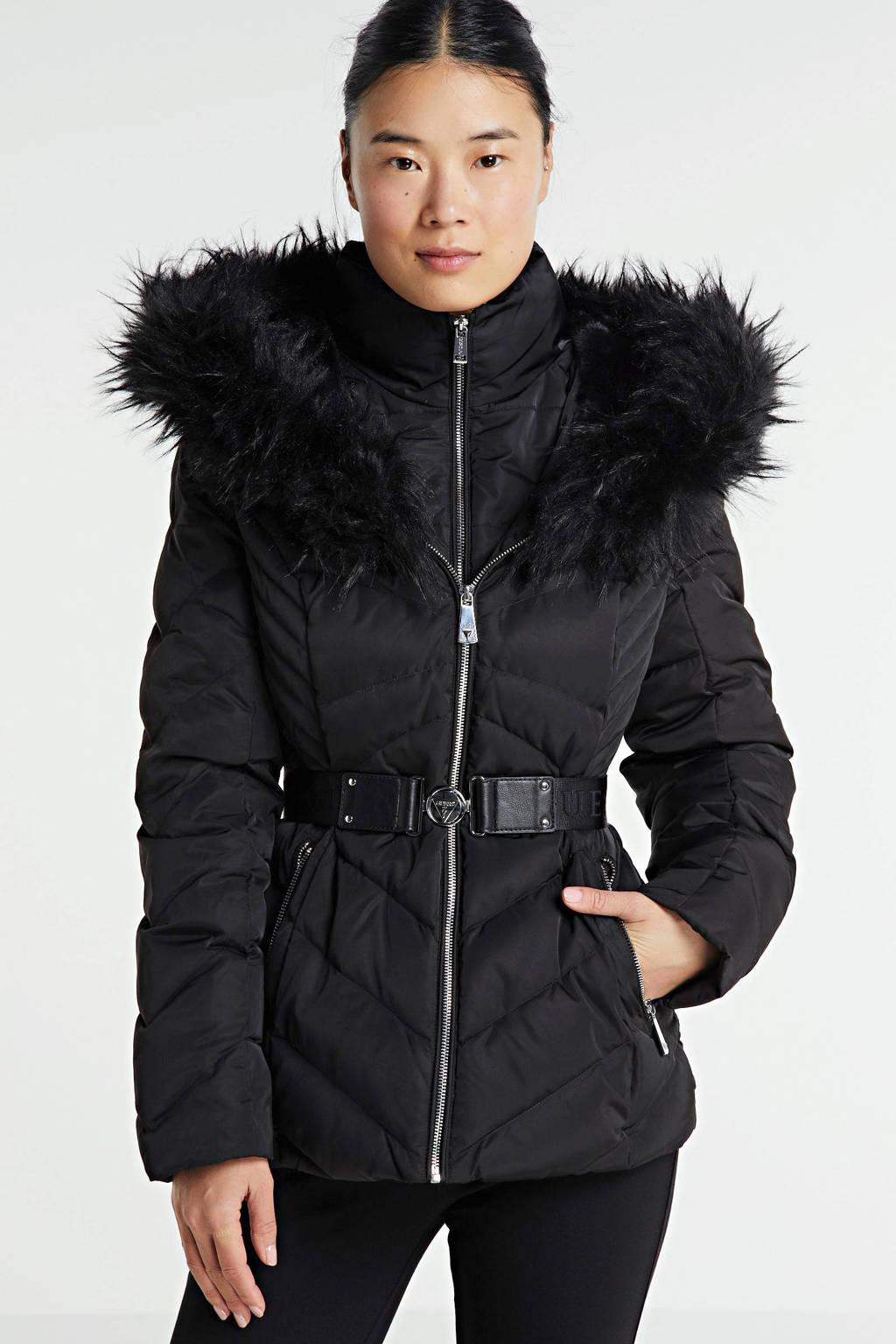 GUESS gewatteerde jas Sara met ceintuur zwart, Zwart