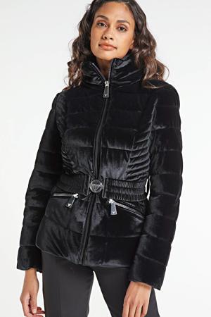 gewatteerde jas Theodora met ceintuur zwart