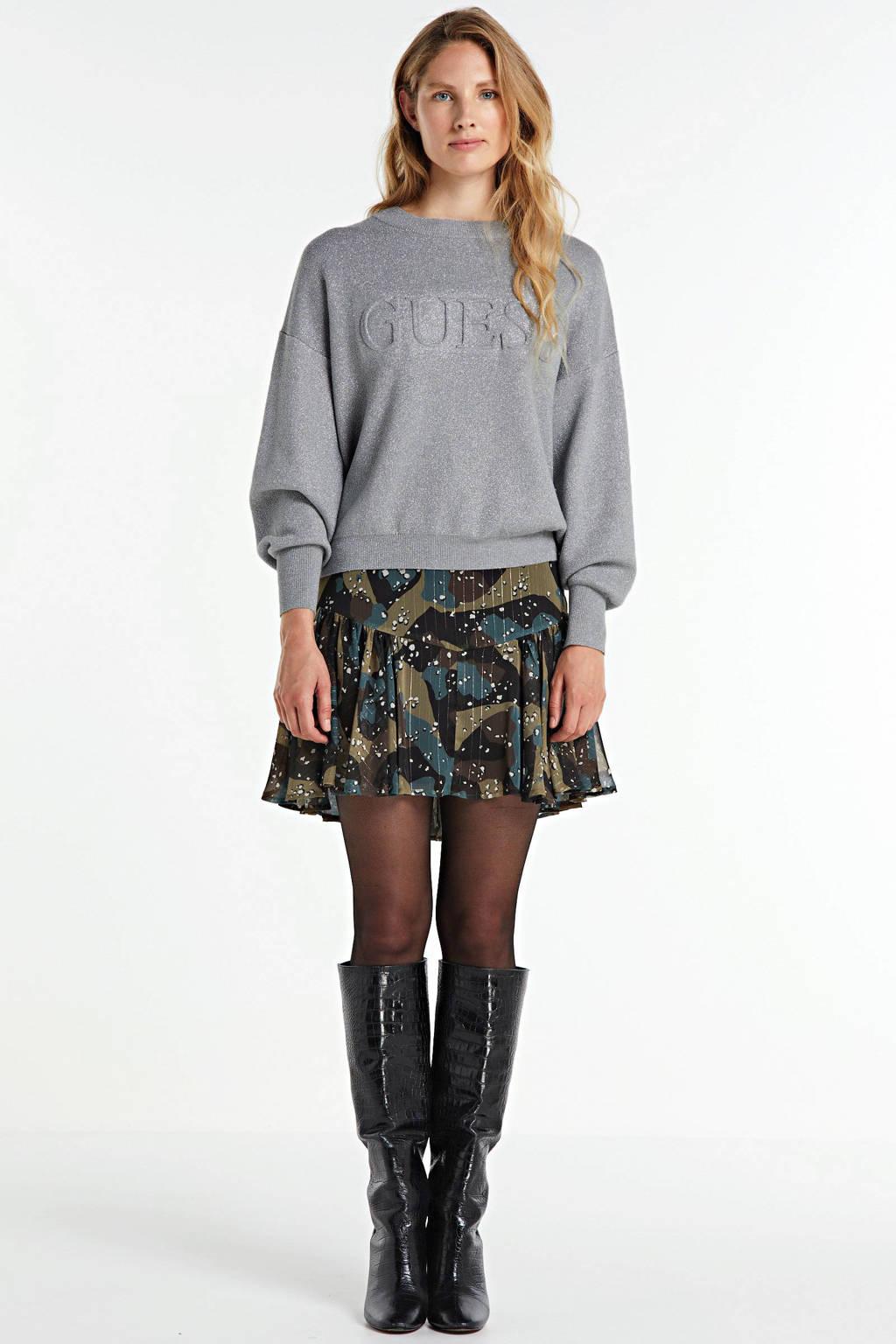 GUESS sweater Tara met logo grijs, Grijs