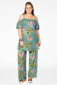 Yoek loose fit broek met all over print blauw/groen, Blauw/groen