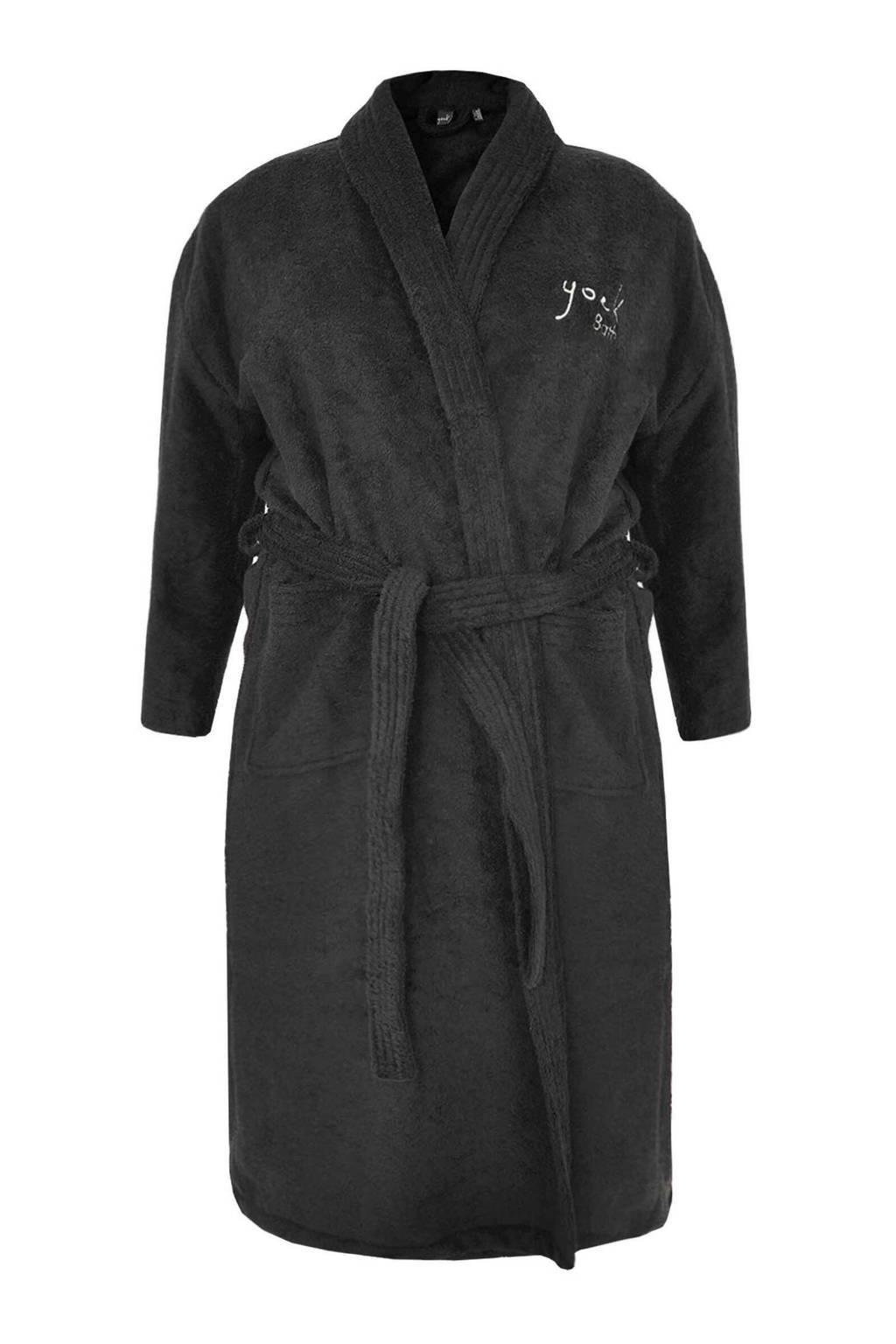 Yoek badstof badjas zwart, Zwart