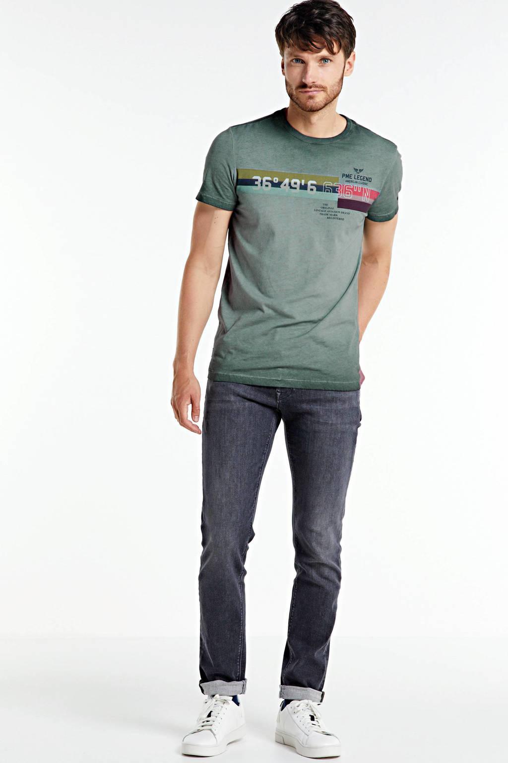 PME Legend T-shirt met printopdruk groen/rood/blauw, Groen/rood/blauw