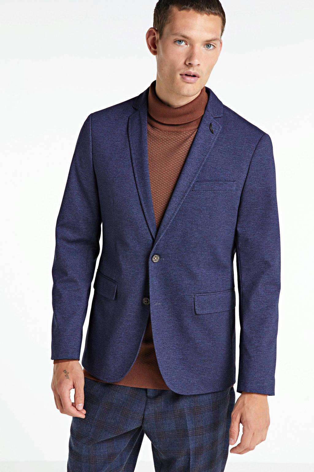 PME Legend gemêleerd slim fit colbert blauw, Blauw