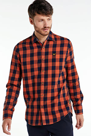 geruit regular fit overhemd oranje/donkerblauw