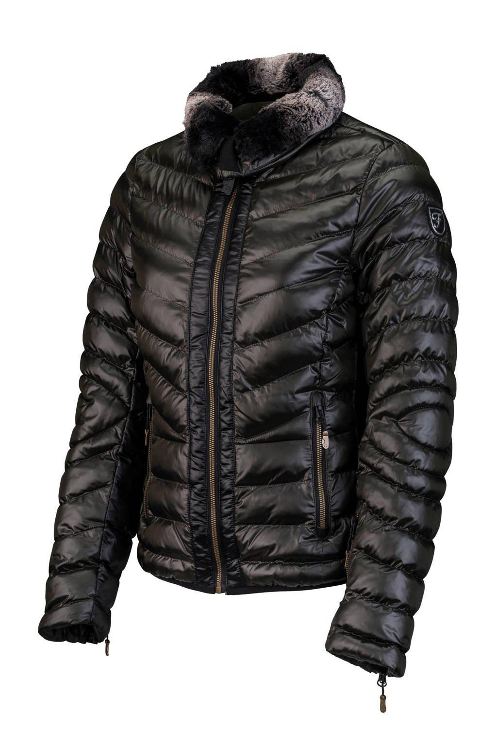 Falcon Ski-jack Christelle olijfgroen/zwart, Zwart/olijfgroen/zwart