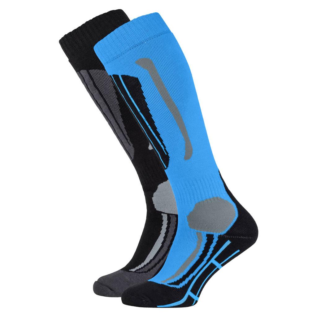 Falcon skisokken Victoria zwart/blauw, Zwart/blauw