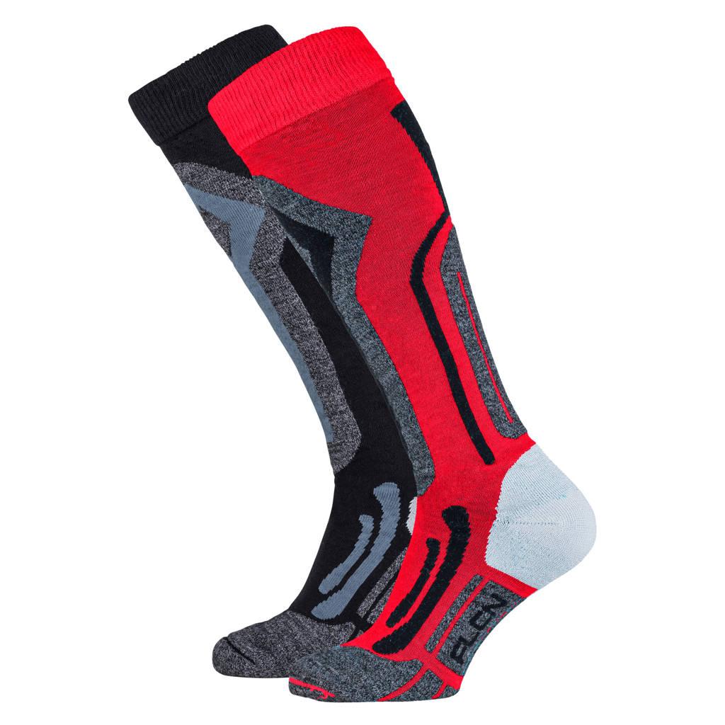 Falcon skisokken rood/zwart (set van 2), Rood/zwart