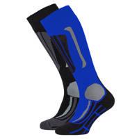 Falcon skisokken Victor zwart/blauw (set van 2), Zwart/blauw