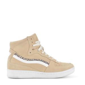 hoge suède sneakers beige