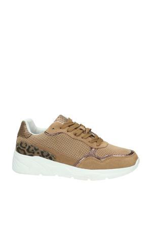 suède sneakers bruin/panterprint