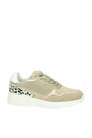 suède sneakers beige/panterprint