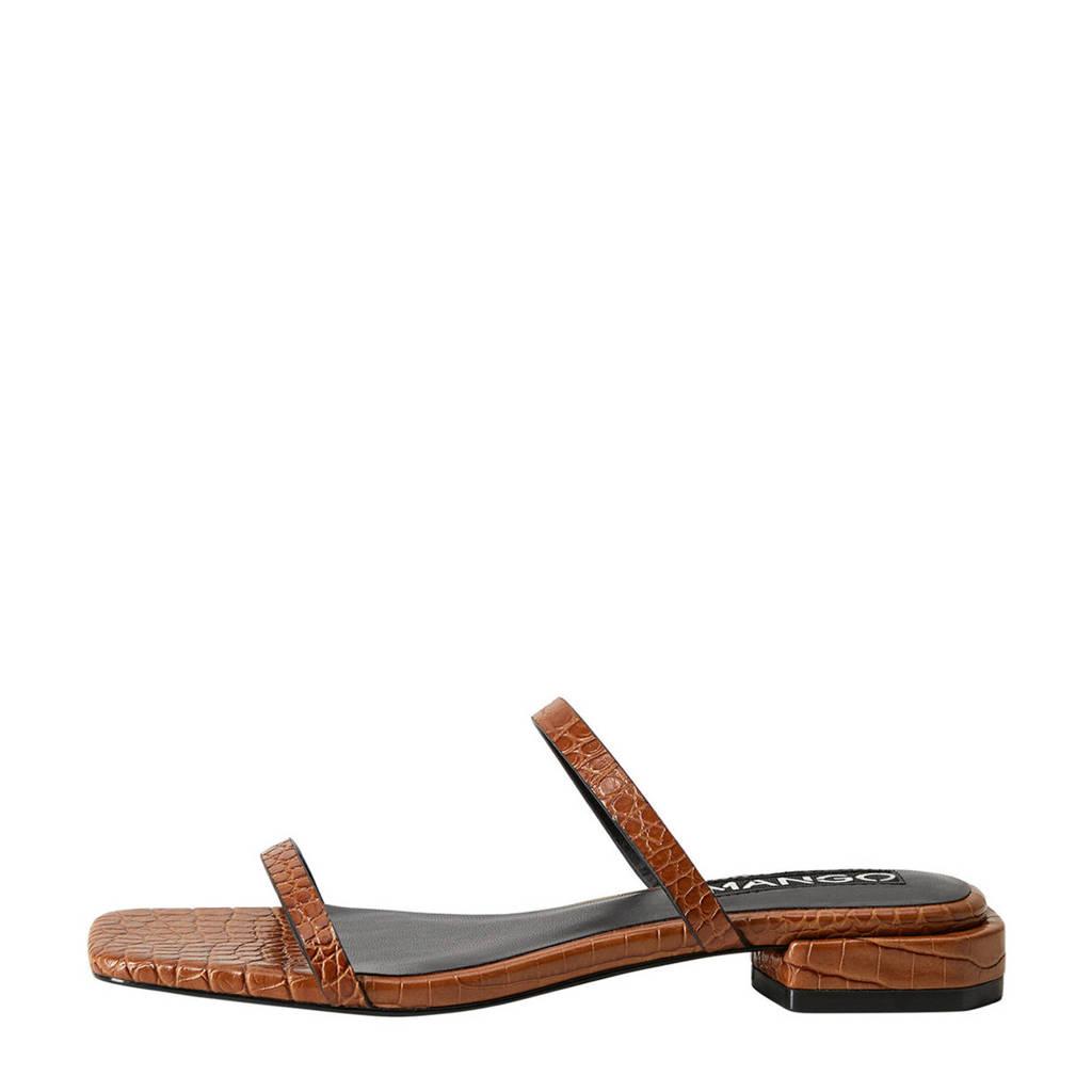 Mango   slippers crocoprint bruin, Bruin