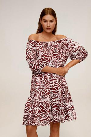 off shoulder jurk met dierenprint donkerrood/ wit