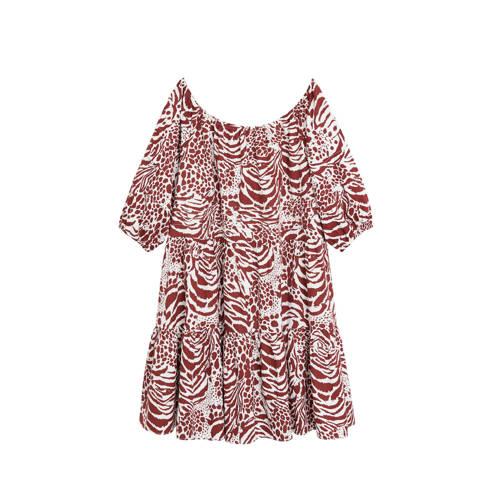 Mango off shoulder jurk met dierenprint donkerrood wit