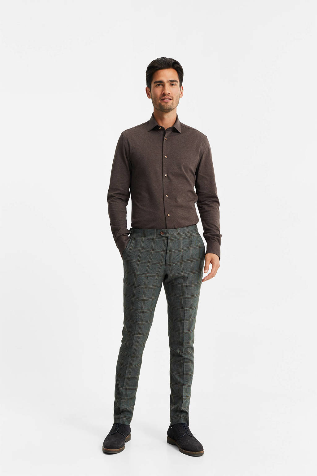 WE Fashion slim fit overhemd bruin, Bruin