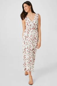 C&A jurk met all over print en ruches wit/roze, Wit/roze