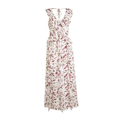 C&A jurk met all over print en ruches wit/roze