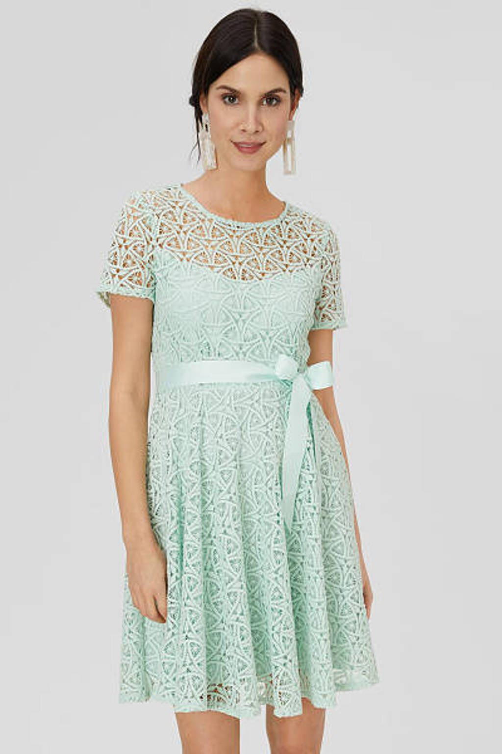 C&A kanten A-lijn jurk met plooien lichtgroen, Lichtgroen