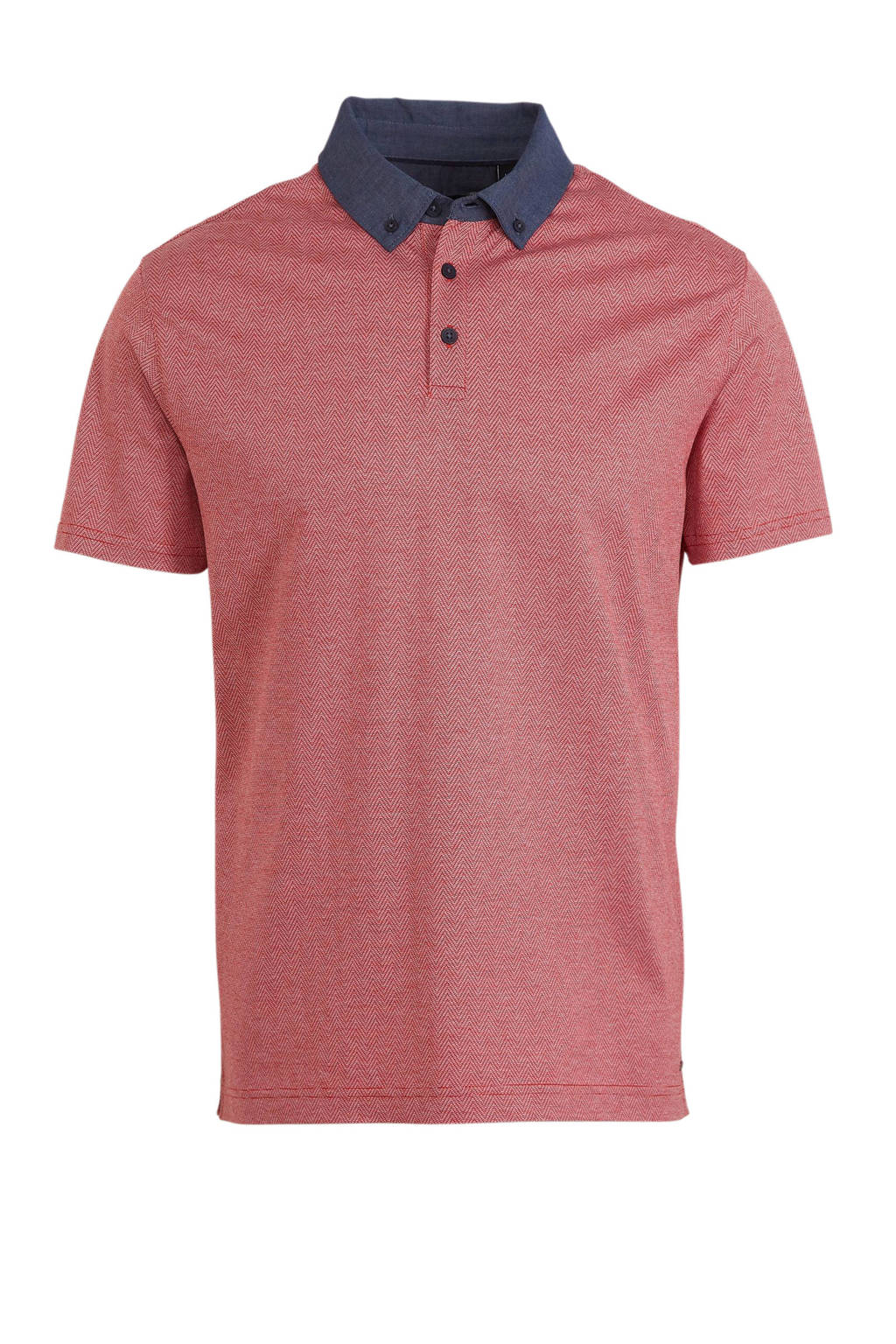 C&A regular fit polo rood/blauw, Rood/blauw