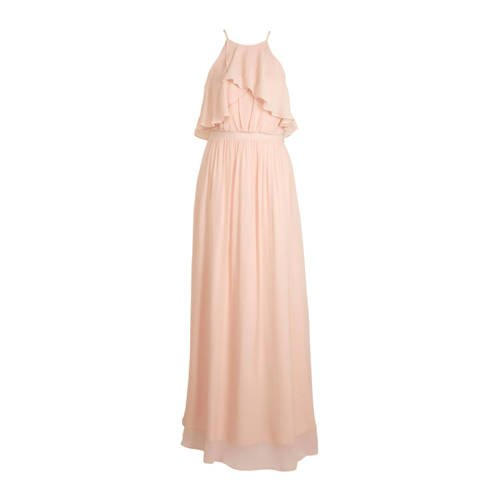C&A halter maxi jurk met volant lichtroze