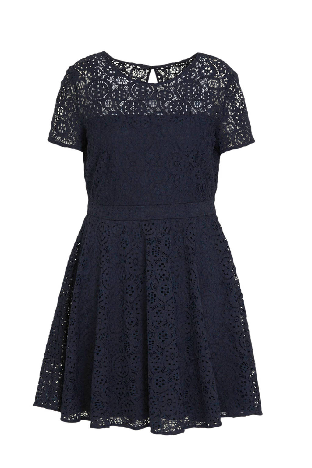 C&A semi-transparante A-lijn jurk met kant marineblauw, Marineblauw