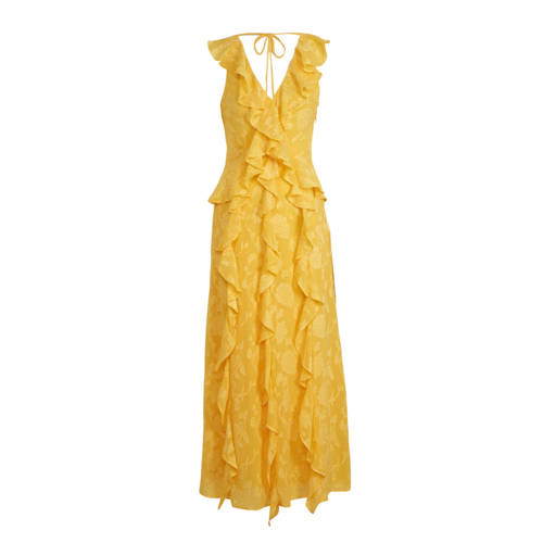 C&A jurk met all over print en ruches geel