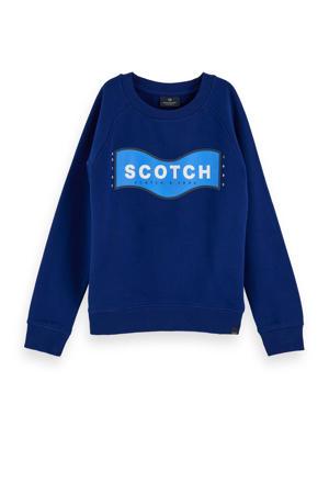 sweater met tekst blauw/wit