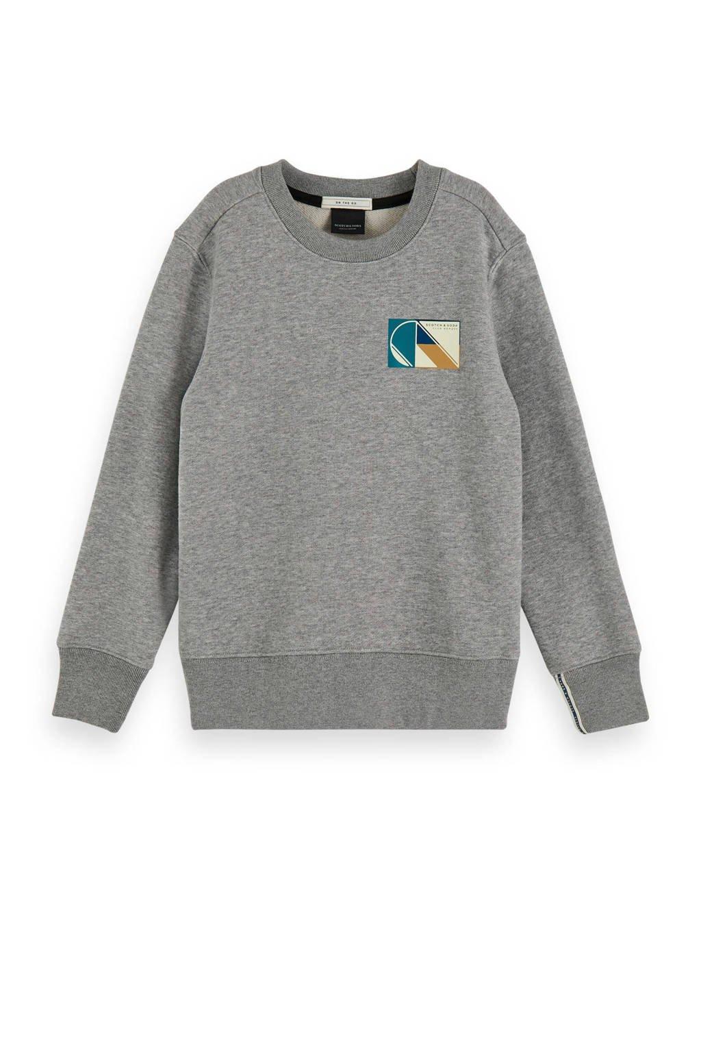 Scotch & Soda sweater met printopdruk grijs melange, Grijs melange