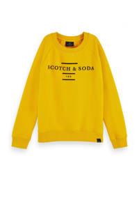 Scotch & Soda sweater met tekst geel/zwart, Geel/zwart