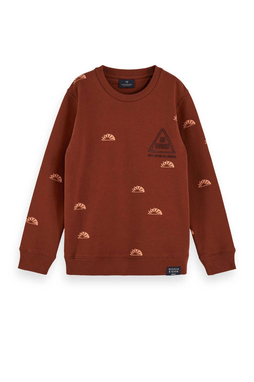 Scotch & Soda sweater met all over print bruin, Bruin
