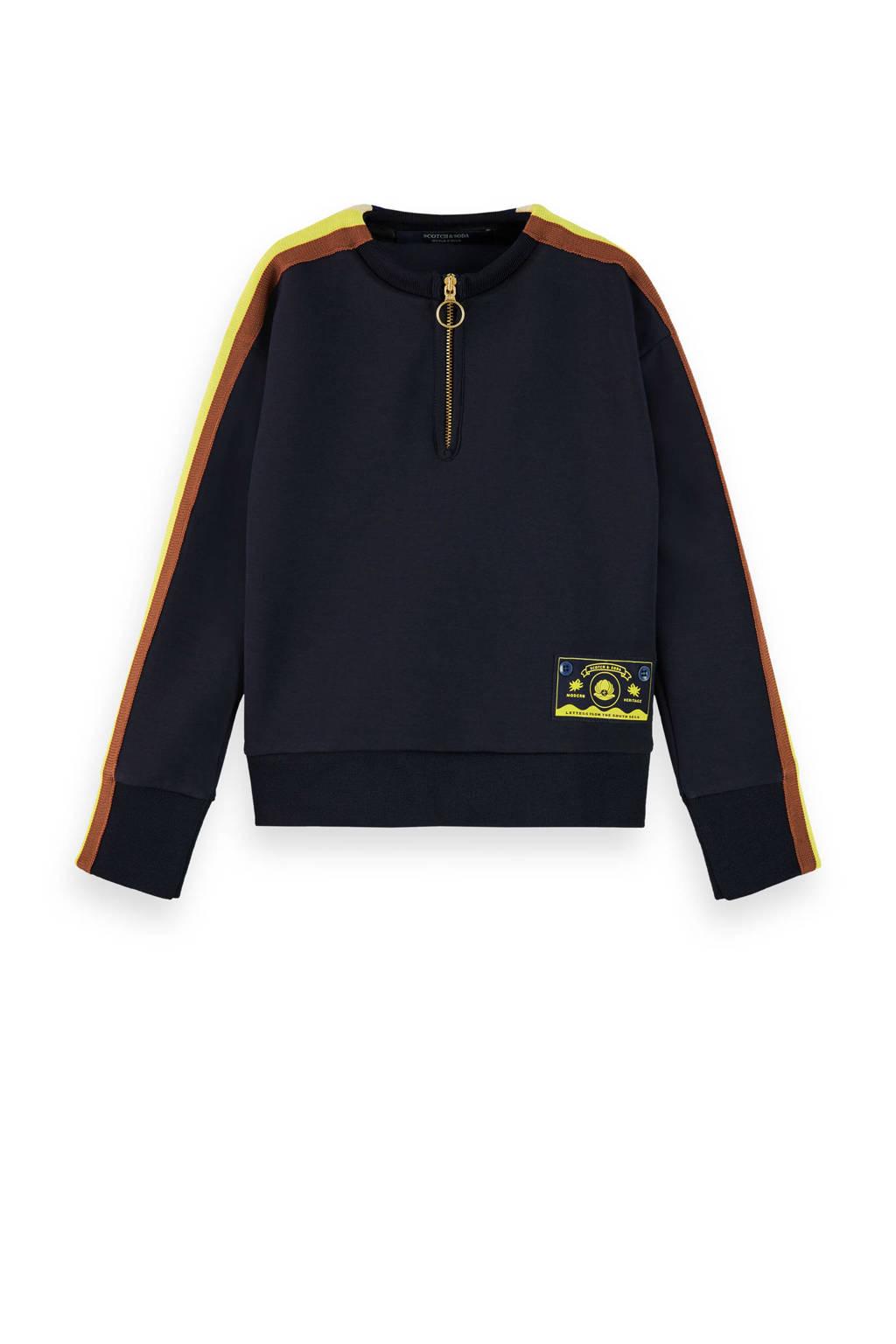 Scotch & Soda sweater donkerblauw/bruin/geel, Donkerblauw/bruin/geel