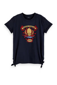 Scotch & Soda T-shirt met printopdruk donkerblauw/rood/geel, Donkerblauw/rood/geel
