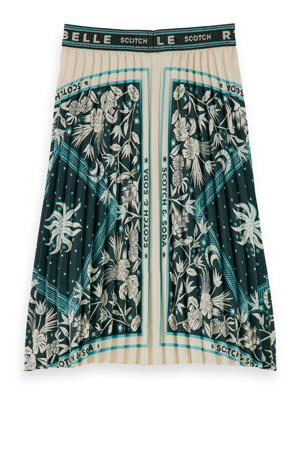 rok met all over print ecru/groen