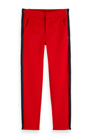 broek met zijstreep rood/zwart/wit