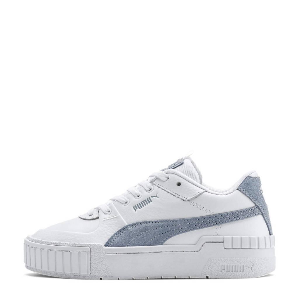 Puma Cali Sport leer/suède sneakers wit/lichtblauw, Wit/lichtblauw
