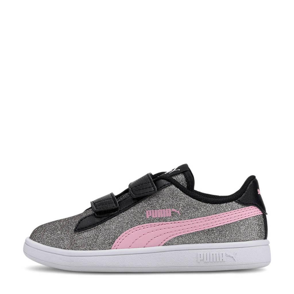 Puma Smash v2 Glitz Glam V PS sneakers zwart/zilver/roze, Zwart/zilver/roze