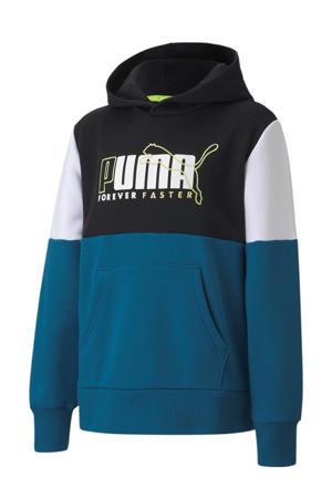 hoodie blauw/wit/zwart