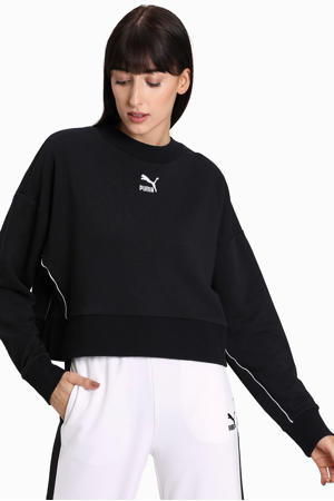 cropped sweater wit/zwart