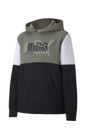 hoodie zwart/wit/kaki