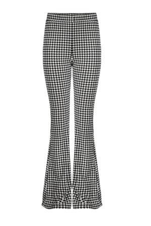 flared broek Guillia met pied-de-poule ecru/zwart