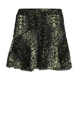 gehaakte rok Gigi met slangenprint groen/zwart