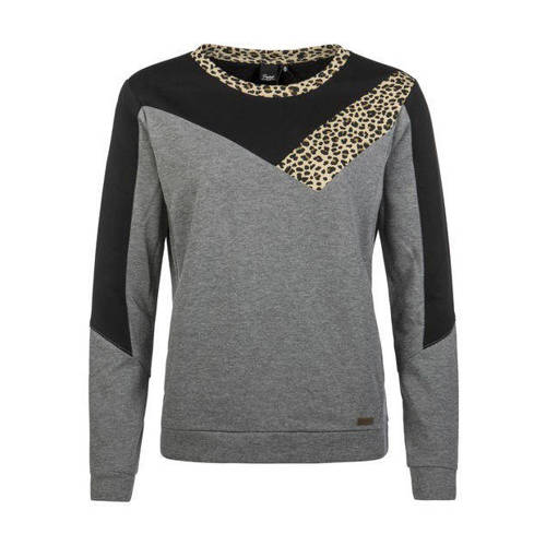 Protest sweater met panterprint grijs