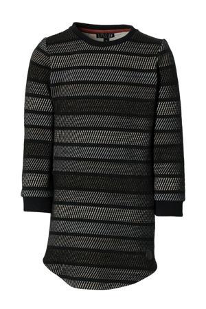 gestreepte T-shirtjurk Layla grijs/zwart