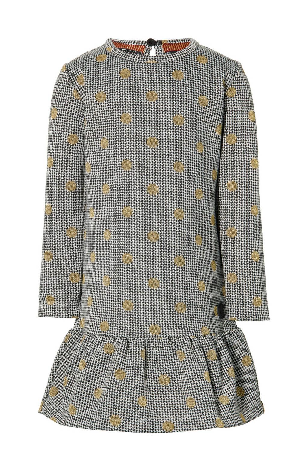 LEVV Little jurk Lea met pied-de-poule zwart/wit/goud, Zwart/wit/goud