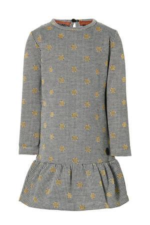 jurk Lea met pied-de-poule zwart/wit/goud