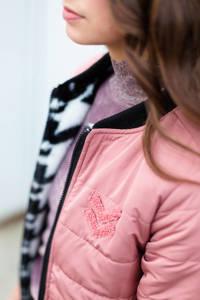 LEVV Girls reversible imitatiebont jas Kiza met all over print zwart/wit/roze, Zwart/wit/roze