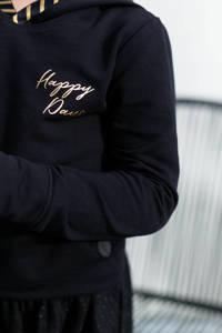 LEVV Little hoodie Liz met tekst zwart/geel, Zwart/geel