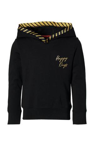 hoodie Liz met tekst zwart/geel